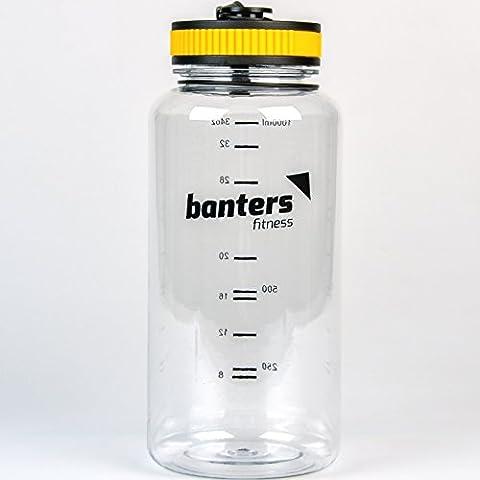 Banters® Fitness 1 Liter Sport-Trinkflasche BPA-frei mit Schraub-Verschluss | Flasche