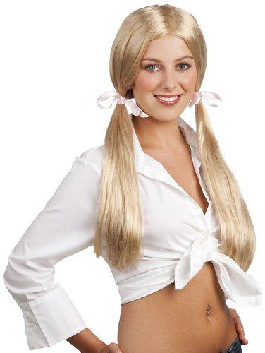 cke Schulmädchen lange Haare, mit zwei Zöpfen, blond (Halloween Kostüme Für Zwei Frauen)