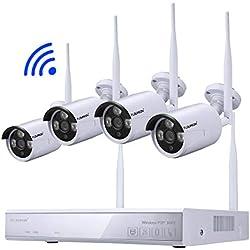 FLOUREON Kit de Surveillance sans Fil 1080P Caméra de Vidéosurveillance Étanche 4CH NVR Enregistreur Vidéo H.264 + 4X 720P Détection de Mouvement Alarme par Mail Système Cloud Sauvegarde par USB
