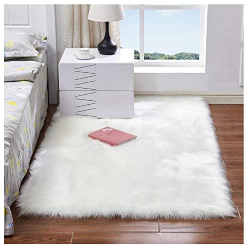 JINXIULL Spitzenqualität Lammfellimitat Teppich 50 x 150 cm Lammfellimitat Teppich Longhair Fell Nachahmung Wolle Bettvorleger Sofa Matte (Weiß, 80 x 150 cm)