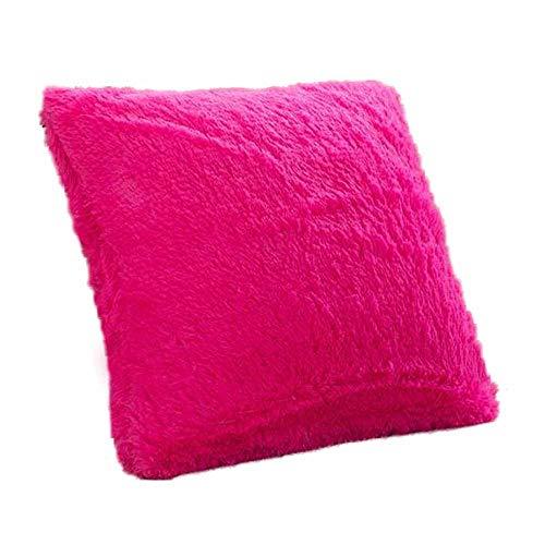MEHOUSE Taies d'oreiller Canapé Peluche Couleur Unie Coussin Oreiller Oreiller Artificielle Peluche CâLin Housse de Coussin Throw Pillow Case Cushion Cover 45 * 45 CM (45 * 45CM, RR)