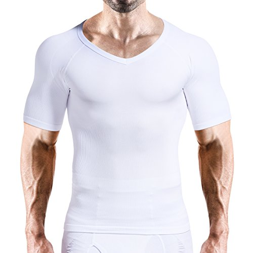 VENI MASEE Mens Slim und Tight Super Soft Kompression & Schlankheits-Shaper V-Neck Kompressions Hemd -