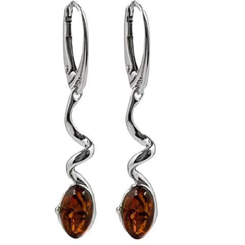 Baltic Honey Amber Sterling Silver Leverback Twisted
