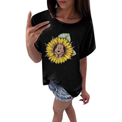 Sunflower Bedruckt Lässige Rundhals Kurzarm Mehrfarbig T-Shirt Tops(3XL(46).Schwarz-Hund) ()