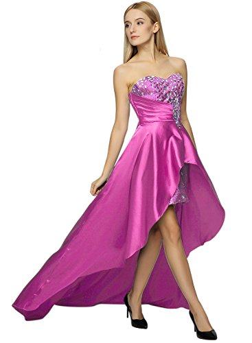 Azbro Women's Strapless Rhinestone High Low Bodycon Dress purple
