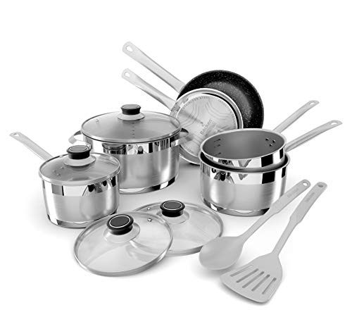 Backen 659912 Batterie de Cuisine INOX 12 Pieces Tous Feux Dont Induction, Gris