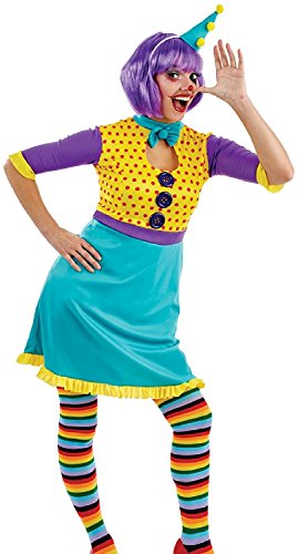 Ladies Cute Clown Circus Halloween Carnival Party Fancy Dress Costume Outfit UK 8-18 Plus Size (UK 8-10)