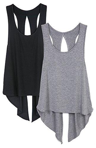 icyzone Damen Sexy Yoga Tops Sport Oberteil Rückenfrei Workout Fitness Shirt Ärmellos (M, Black/Grey) (Workout Womens Top)