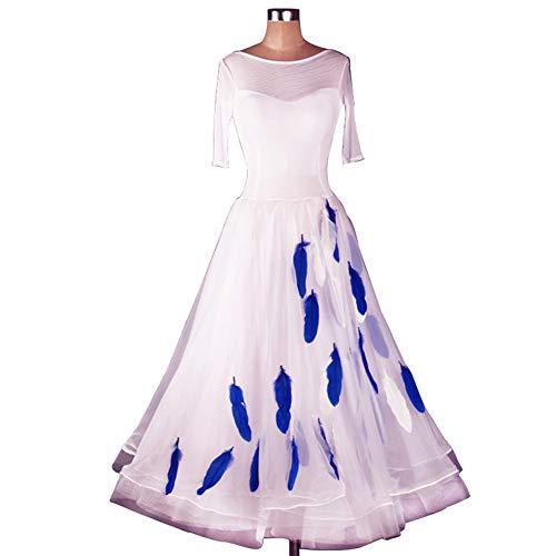 Weiß Kostüm Dance Modern - DSDBWQ Modern Dance Rock für Frauen Gesellschaftstanz Waltz Performance Competition Kleider Tango Dance Kostüm,Weiß,L