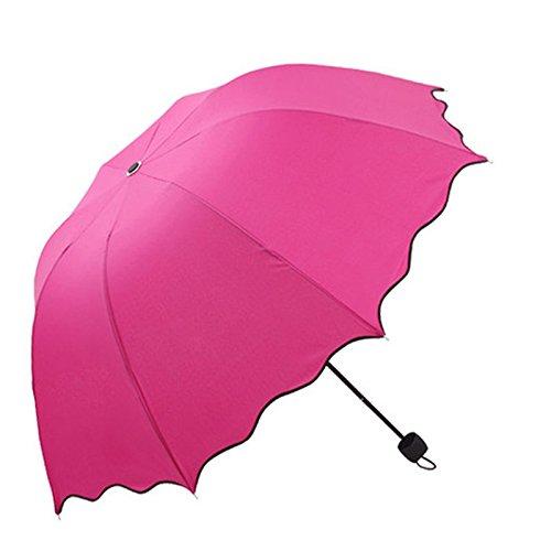 ombrello, aFEITONG UPF> 40, uva <5%, livello 6 balza di loto pieghevole lascia cupola principessa ombrellone sole / pioggia impermeabile ombrello poliestere (Rosa caldo)