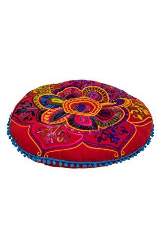 Orientalischer runder pouf aus Baumwolle 75cm inklusive Füllung | Marokkanisches Sitzkissen Sitzpouf Kissen rund Mirza -3- ø 75cm Rund | Orientalisches rundes Yogakissen Meditationskissen bestickt