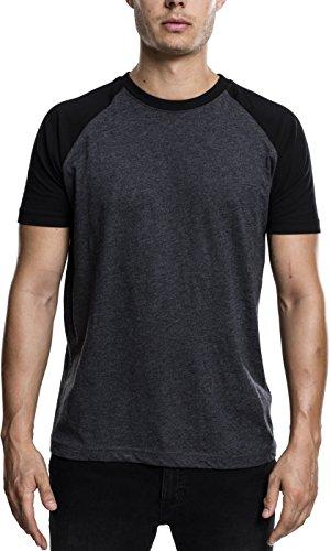 Urban Classics Herren T-Shirt Raglan Contrast Tee, Gr. XX-Large, Mehrfarbig (Cha/blk 314)