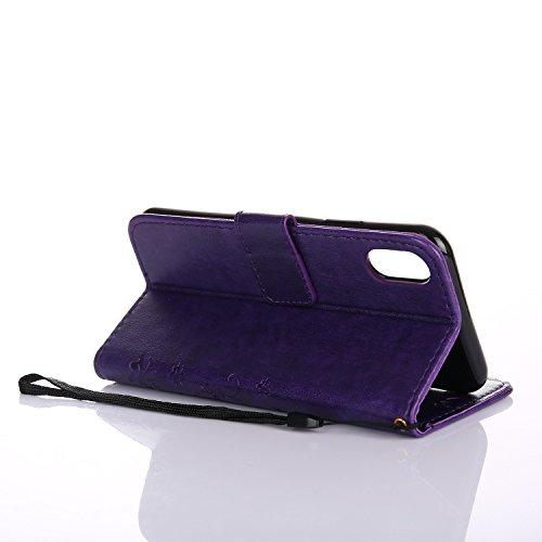 Apple iPhone X Hülle, Landee Erweiterte gepresste Blumen Serie PU Leder Wallet Case Hülle für Apple iPhone X Tasche Schutzhülle Handytasche Flip Case iPhone 8-GY-Dark Purple