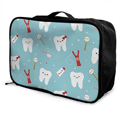 Portable Luggage Duffel Bag New Dental Fabric Happy Teeth & Friends Travel Bags Carry-on In Trolley Handle