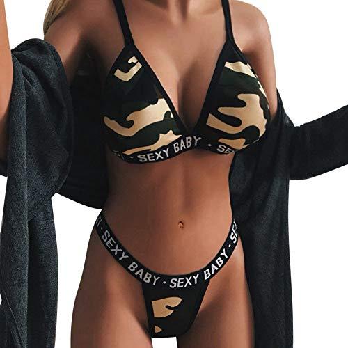 OSYARD Damen Unterwäsche Babydoll Sets Lingerie Negligees Nachtwäsche Reizwäsche Schlafoveralls, Frauen Dessous Sleepwear Overall Temptation Underwear Sexy Bikinis Camouflage Drucken BH Sets -