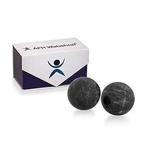 Meditation Qi-Gong-Kugel Paar | Yin Yang Steinkugel | STEIN MARMOR GRAU-WEISS | Durchmesser: 50mm | mit hochwertiger und wiederverschließbaren Aufbewahrung Magnetbox