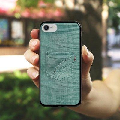 Apple iPhone X Silikon Hülle Case Schutzhülle Jeans Look Hose Fashion Hard Case schwarz