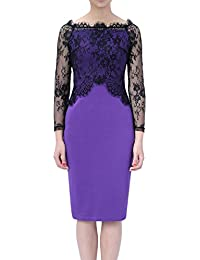 Womdee Damen Elegant Formal Langarm Off Schulter Bleistift Spitze Kleid