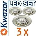 Super Set 3er K-15 Einbaustrahler Power Led 3x1w 35w Gu10 Fassung 230v von Kwazar Leuchte