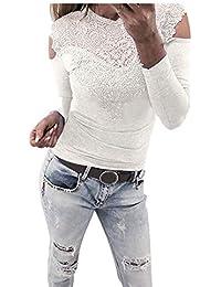 Damen Langarmshirt Sunday Langarm O Hals Spitzen Patchwork Solide Farbe Sweatshirt  Bluse Pullover 5921c550b6