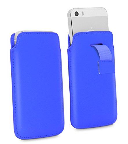 Samsung Galaxy A5 (2017) Pull Tab - Hohe Qualität PU Leder Strap Zieh Band Pull Tab Slip Beutel Hülle Abdeckung Cover Tasche ( Blau ) von LOLO®