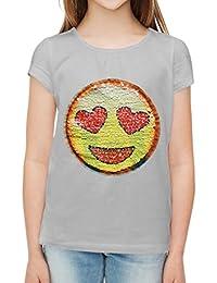 Lentejuela, emociones, camiseta de chicas, cara feliz del smiley amor.