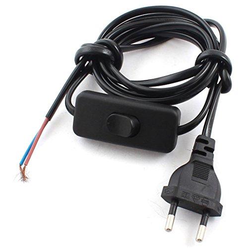 Schwarz EU Stecker-Lampe Netzkabel Inline-Taste Schalter 1.8M AC110V AC250V