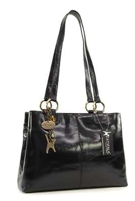 Catwalk Collection Big Tote/Shoulder Bag - Bellstone - Vintage Leather - Black