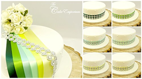 Ruban de satin de 1 m x 35 mm et ornement à 2 rangs de fleurs argentées - Décoration de gâteaux d'anniversaire, de mariage - Nuances de citron et verts citron