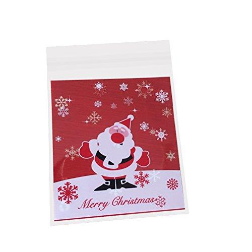 LUOEM 10 stücke Weihnachten Süßigkeiten Keks Taschen Selbstklebende Cookie Cellophan Taschen für Lebensmittel-Paket (Weihnachtsmann)