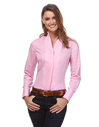 Vincenzo Boretti Damen Bluse mit Kelchkragen leicht tailliert 100% Baumwolle bügelleicht Langarm Hemdbluse mit Stehkragen elegant festlich auch für Business pink 40