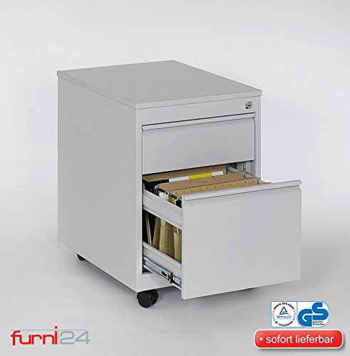 Rollconteiner Schreibtischcontainer 2 Schübe Farbe grau RAL 7035 pulverbeschichtet