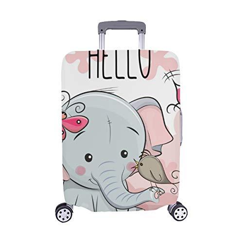 (Nur abdecken) Grußkarte niedlichen Cartoon Elefant Vogel Staubschutz Trolley Protector case Reisegepäck Beschützer Koffer Cover 28,5 X 20,5 Zoll