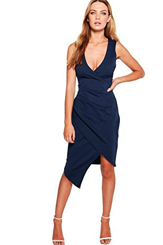YourPrimeOutlet Navy Womens Elizabeth Deep Plunge Wrap Midi Dress
