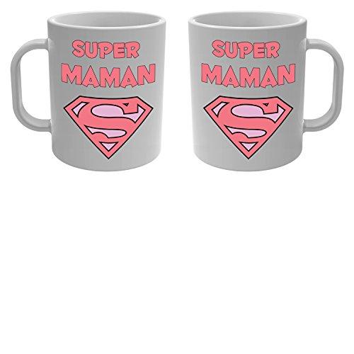 Yonacrea - Mug Tasse - Super Maman - superman rose
