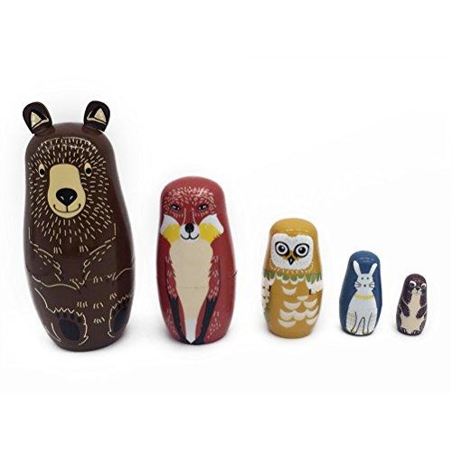 Supvox Cute Nesting Dolls Entzückender Braunbär Russische Stacking Dolls Cute Nesting Dolls Collection Spielzeug 5 Stücke -