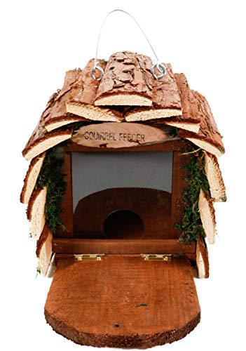 Lifetime Eichhörnchen-Futterstelle, aufklappbare Tür als Sitzplatz, aus unbehandeltem Naturholz, ca. 16 x 25,5 x 16,5 cm