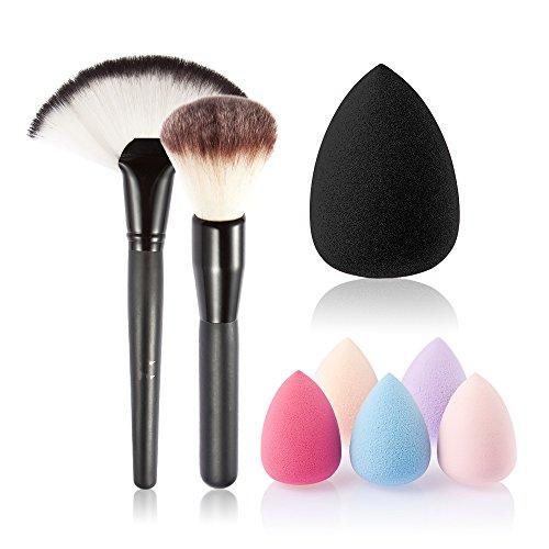 JasCherry Pro 2 Pcs brochas de maquillaje cosméticas Kit + 1 Esponja Fundación Puff - profesional cepillos/pinceles conjunto para maquillaje