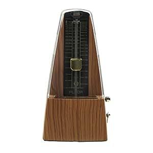 Musiclily haute précision Pyramide traditionnelle Wind Up Pendule métal mécanique Metronome Tempo pour Musiciens Guitare Basse piano et violon, Lumière teck Couleur