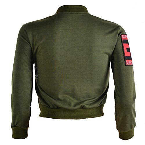 hibote Dames femmes Patch Bomber Jacket Sweat / Manches longues Vert