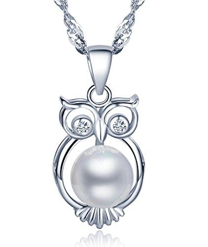 Unendlich-U-Unique-925-Sterling-Silber-Damen-Halskette-Eule-8mm-Perle-Anhnger-Perlenkette