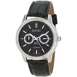 August Steiner Herren-Swiss Quarz Multifunktions-Diamant Leder Armbanduhr
