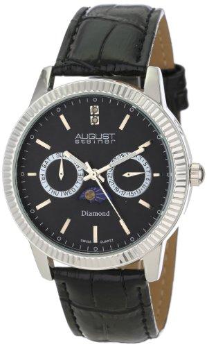 August Steiner Men's AS8051BK Swiss Quartz Multi-Function Diamond Leather Strap Watch