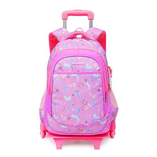 Zq zaino trolley per ragazze bambine, multi-scomparto impermeabile rullare zaino scuola borse libreria per bambini studenti elementari (7-16 anni) rosa pink1