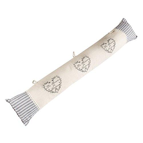 Dibor Cojín para tapón de Puerta Bordado, diseño de corazón, Color Beige, 80 cm de Ancho