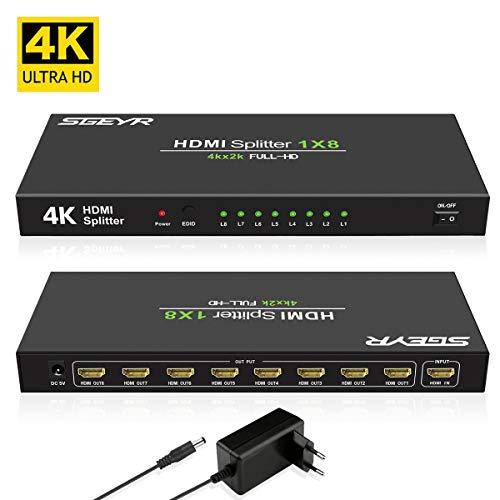 SGEYR 1x8 Port HDMI Splitter 4K 1 auf 8 HDMI Verteiler Splitter 1 In 8 Out HDMI Verstärker Unterstützung UHD 4K 30Hz 3D 1080P HDMI 1.4