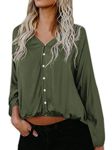 Honestyi Damen T-Shirt, Damen Bluse Lange Ärmel T-Shirt Lose Beiläufig Oberteile Große Größe Langarmshirts v-Asschnitt Tops Einfarbig Sweatshirts (L, Grün)