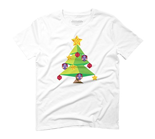 Green Polygonal Xmas tree Men's Graphic T-Shirt - Design By Humans White