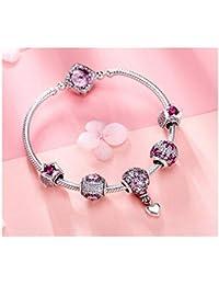 0e687d34aff MTWTM Pulsera De Plata Esterlina Joyas De Mujer Simplicidad Moda Estética  Rosa Mosaico Temperamento Elegancia Dulzura