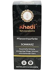 khadi Pflanzenhaarfarbe Schwarz 100g I schwarze Haarfarbe mit Indigo, Henna und Amla I Naturhaarfarbe 100% natürlich